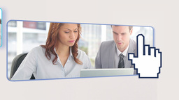 Video of business people with multimedia devices Animation