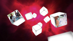 Business videos on cubes drifting Animation