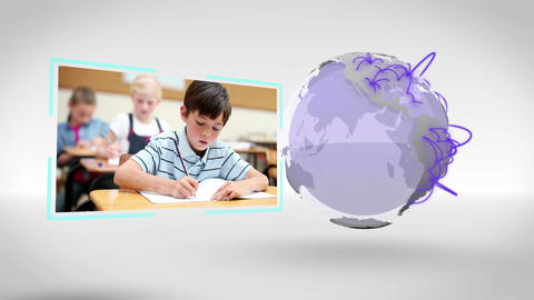 Videos of a classroom next to an Earth image court Animation