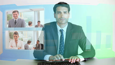Video of business people looking at futuristic scr Stock Video Footage