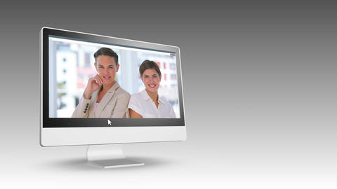 Smiling business people on videos Animation