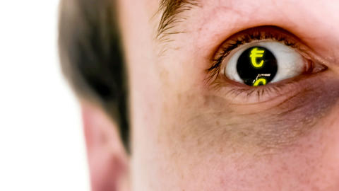 Man with euro symbol in his eye in slow motion Stock Video Footage