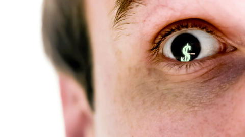 Man with dollar symbol in his eye in slow motion Animation
