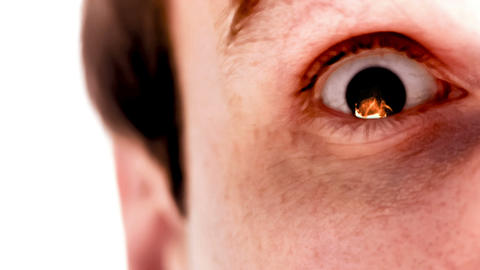 Man with flame in his eye in slow motion Animation