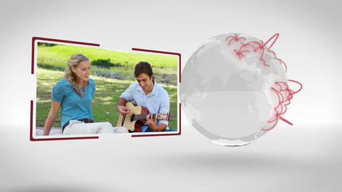 Videos of couple outdoors with an Earth image cour Animation