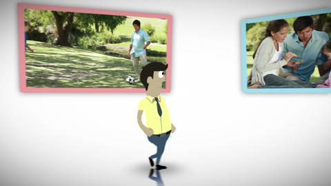 Happy family videos in a park Animation