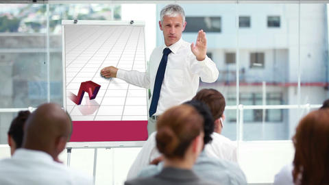 Businessman presenting a chart Animation