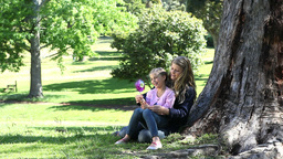 Mother and his daughter holding a pinwheel in a pa Stock Video Footage