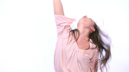 Woman dancing and singing Footage