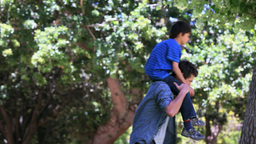 Son playing on shoulders of his father Footage