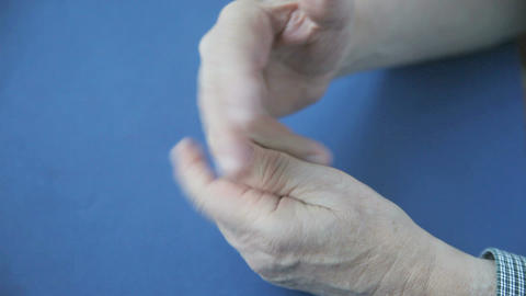 Man With Finger Joint Numbness stock footage