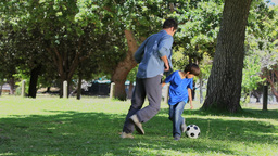 Son and his father playing football in a park Footage