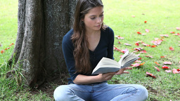 Woman reading a book next to a tree Footage