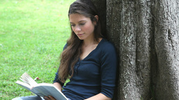 Woman sitting against a tree while reading a book Footage