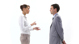 Business woman speaking to a man Stock Video Footage