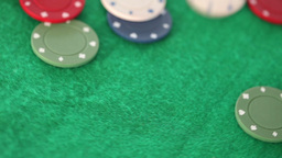 Gambling coins thrown on a gambling table Footage