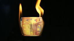 Video of a burning euro bill Footage