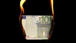 Video of a burning hundred euro bill Footage