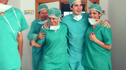 Surgery team leaving the operating room Footage