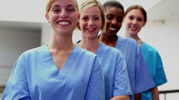 Smiling female nurses looking at camera Footage