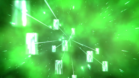 Green images and glows floating Footage