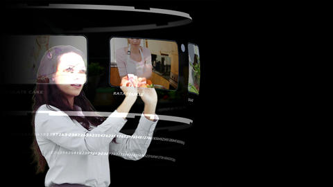 Woman looking through interactive media library Animation