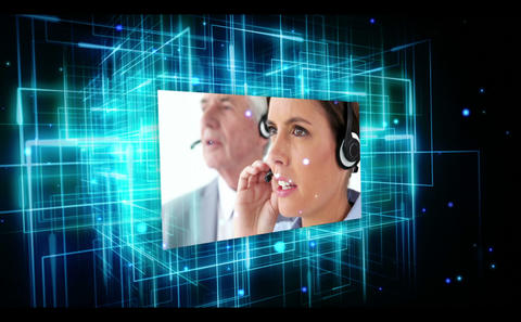 Animation showing typing, call centre and business Footage