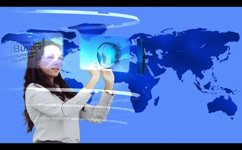 Woman searching through interactive media library on world map background Animation