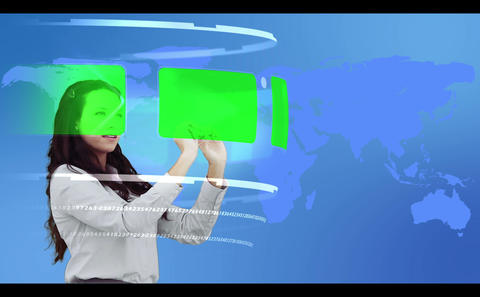 Woman browsing through interactive copy space library Animation