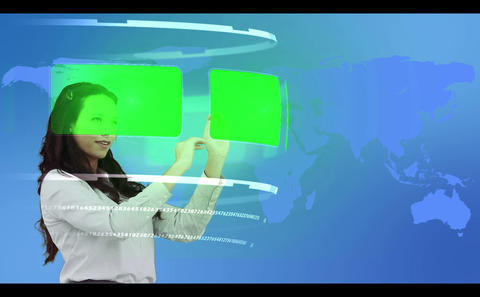 Woman browsing through interactive copy space libr Stock Video Footage