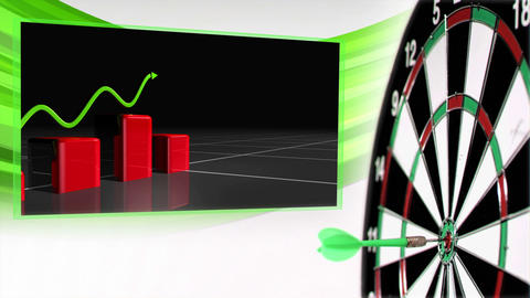Animation with growing graph and business clips Animation