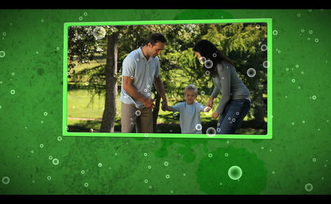 Montage of family outdoors clips on cellular background Animation