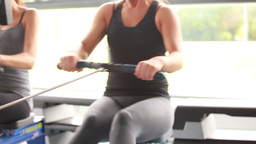 Women training together on rowing machines Stock Video Footage