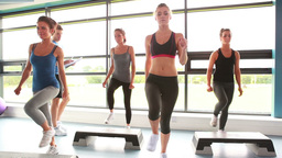 Female group doing aerobics Stock Video Footage