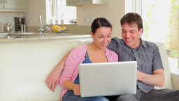 Couple on video chat on laptop Footage