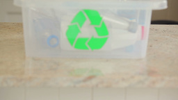 Woman recycling bottles Stock Video Footage