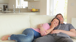 Woman and man dozing together Footage