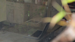 Burglar looking into house Stock Video Footage