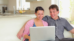 Couple watching movie on laptop Stock Video Footage