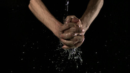 Man washing hands slow motion Stock Video Footage