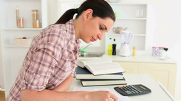 Woman is tired with studying Footage