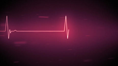 Pink heart monitor line with moving background Stock Video Footage