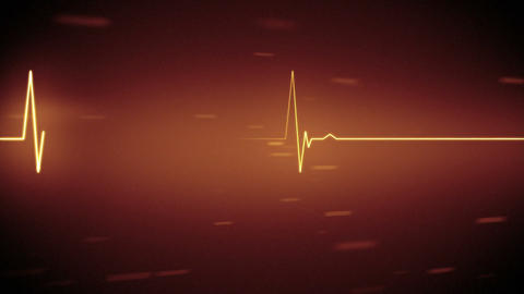 Orange heart monitor line with moving background Animation