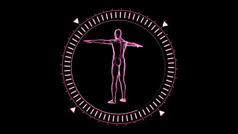 Revolving figure of man man in moving dial circle Footage
