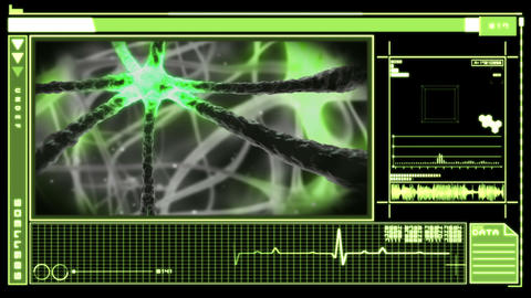 Digital interface showing neuron moving through nervous system Animation