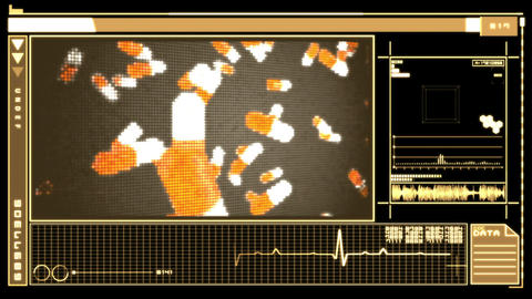 Digital interface showing pills falling Animation