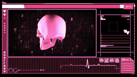 Digital interface featuring revolving skull Animation