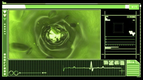 Digital interface featuring blood flowing through  Animation