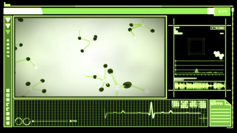 Digital interface showing falling molecules Animation