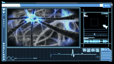 Digital interface showing neuron pulsing through nervous system Animation